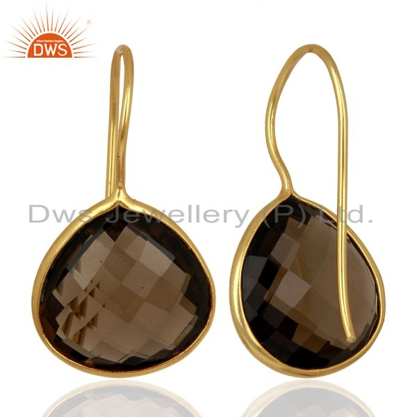 Suppliers Smoky Topaz Heart Shape 92.5 Sterling Silver Gold Plated Drop Earring