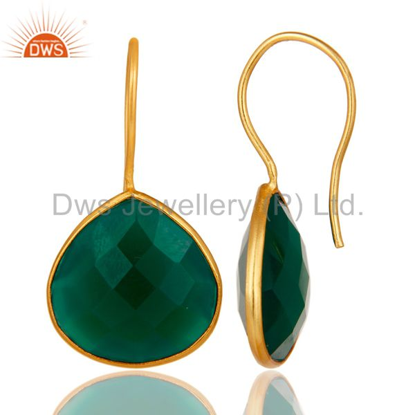 Suppliers Green Onyx 18K Gold Plated 925 Silver Bezel Set Earring