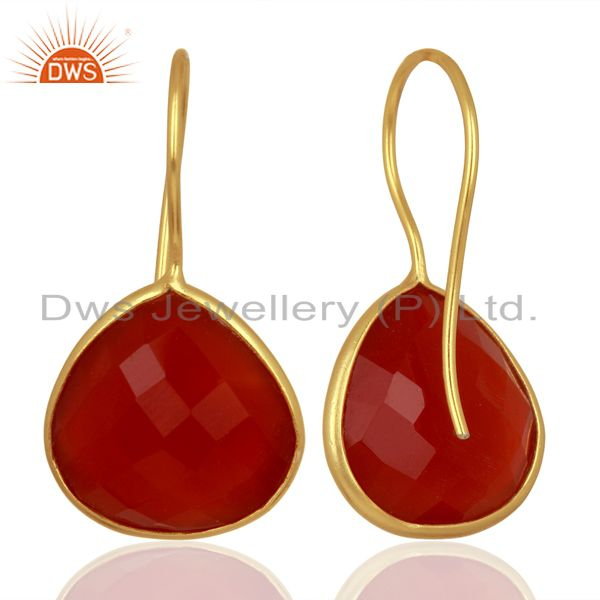 Suppliers Red Onyx Heart Shape 92.5 Sterling Silver Gold Plated Drop Earring