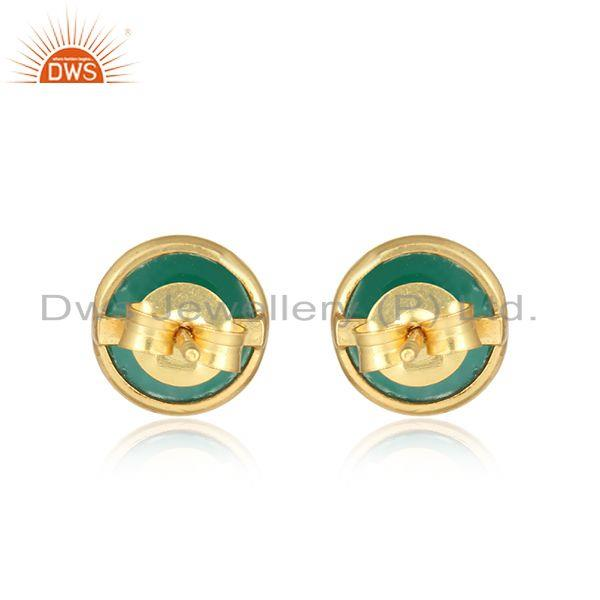 Designer of Dainty elegant stud in yellow gold on silver 925 and green onyx