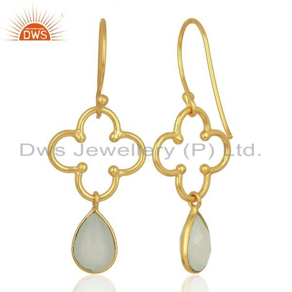 Suppliers Aqua Chalcedony 14K Gold Plated Sterling Silver Artisan Earrings