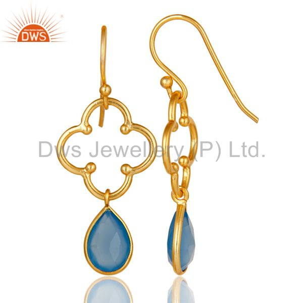 Suppliers Blue Chalcedony 18K Gold Plated Sterling Silver Artisan Earrings