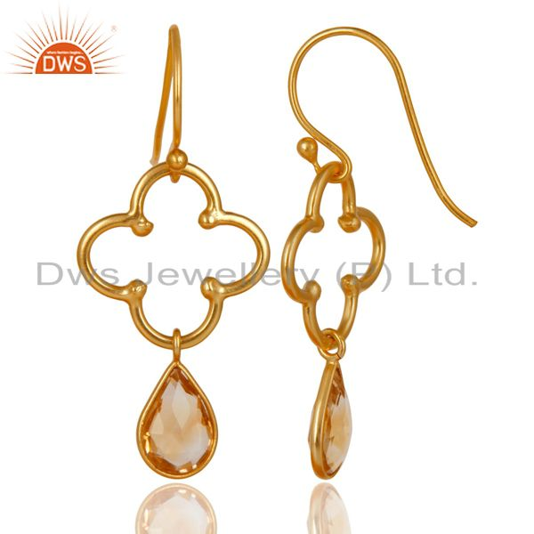 Suppliers 14K Gold Plated 925 Sterling Silver Handmade Citrine Bezel Set Dangle Earrings