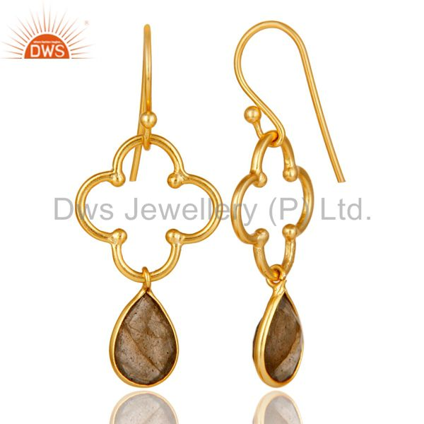Suppliers 14K Yellow Gold Plated 925 Sterling Silver Labradorite Artisan Dangle Earrings