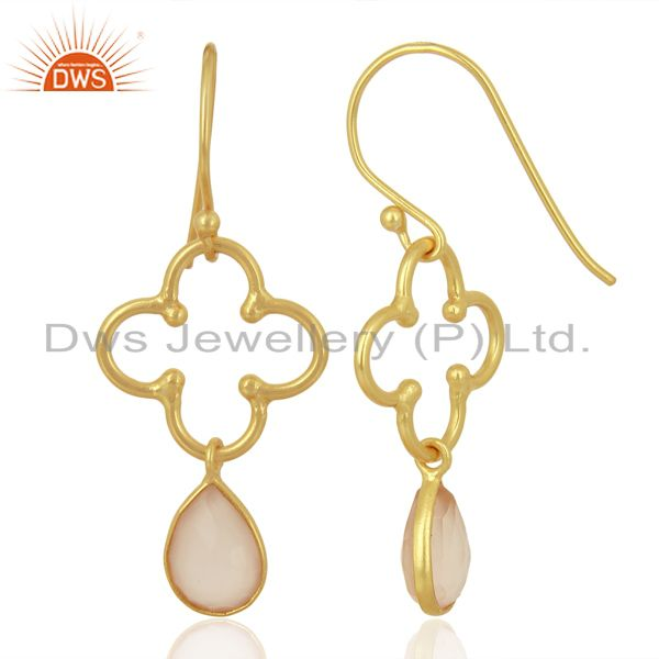 Suppliers Rose Chalcedony Dangle 14K Yellow Gold Plated 925 Sterling Silver Earrings
