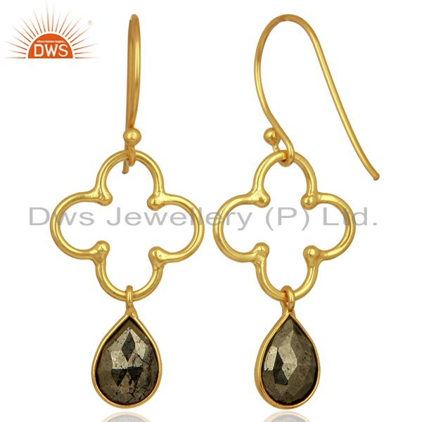Suppliers Pyrite Dangle 18K Yellow Gold Plated 925 Sterling Silver Earrings Jewelry