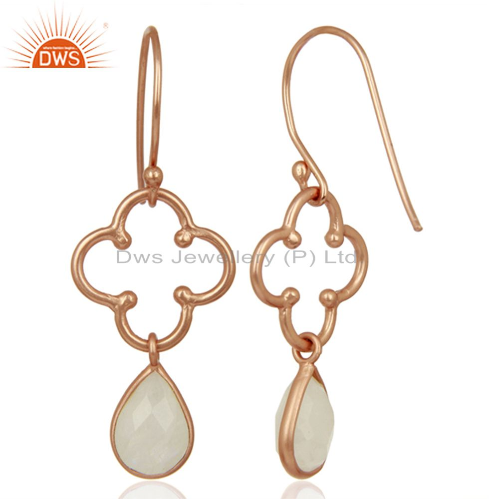 Suppliers Designer Rose Gold Plated Silver Rainbow Moonstone Earrings Supplier