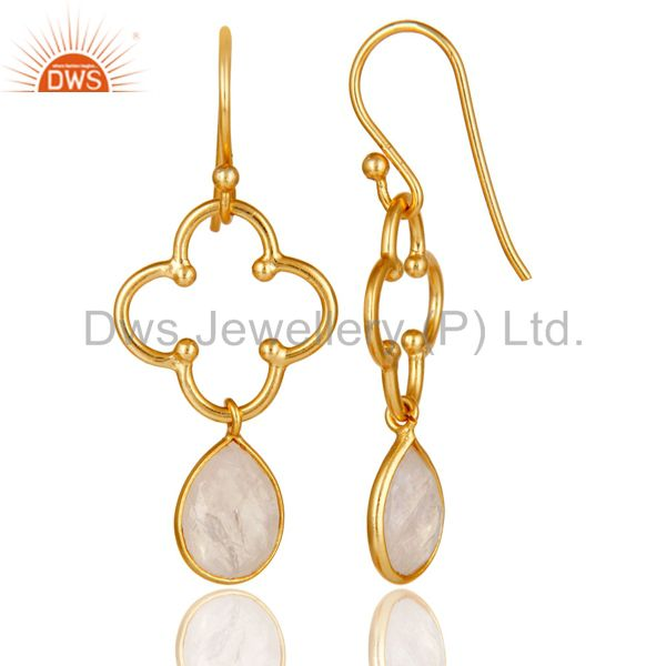 Suppliers Rainbow Moonstone 18K Gold Plated Sterling Silver Artisan Earrings