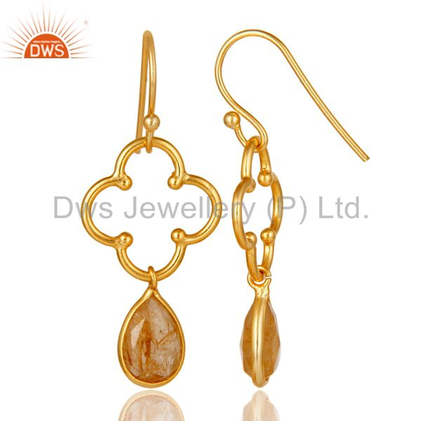 Suppliers Golden Rutile 18K Gold Plated Sterling Silver Artisan Earrings