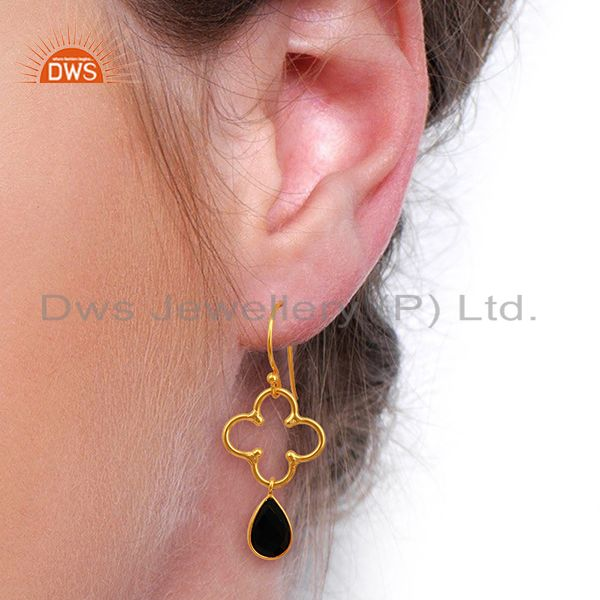 Suppliers Black Onyx Gold Plated 92.5 Sterling Silver Artisan Clover Designer Earring