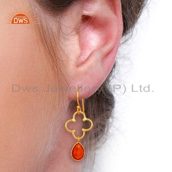 Suppliers Red Onyx Gold Plated 92.5 Sterling Silver Artisan Clover Designer Earring