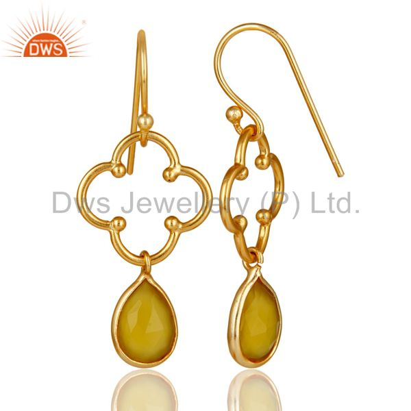 Suppliers Yellow Chalcedony 18K Gold Plated Sterling Silver Artisan Earrings