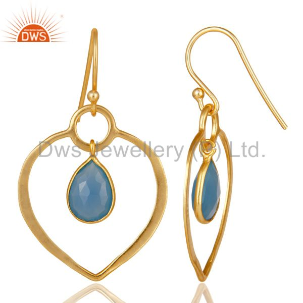 Suppliers Blue Chalcedony 18K Gold Plated Heart Shape Designed Sterling Silver Earring