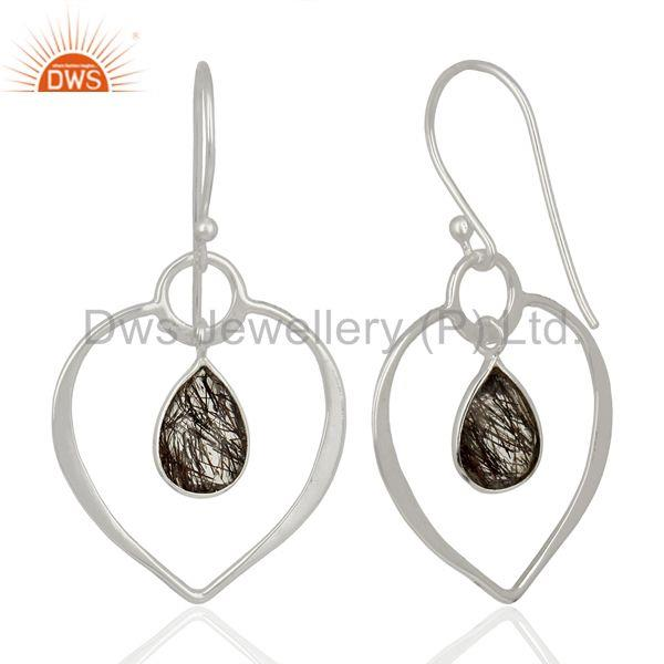 Suppliers Handmade Sterling Silver Rutile Black Gemstone Earrings Manufacturer