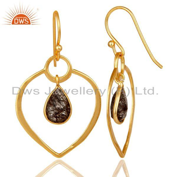 Suppliers Black Rutile 18K Gold Plated Heart Shape Designed Sterling Silver Earring
