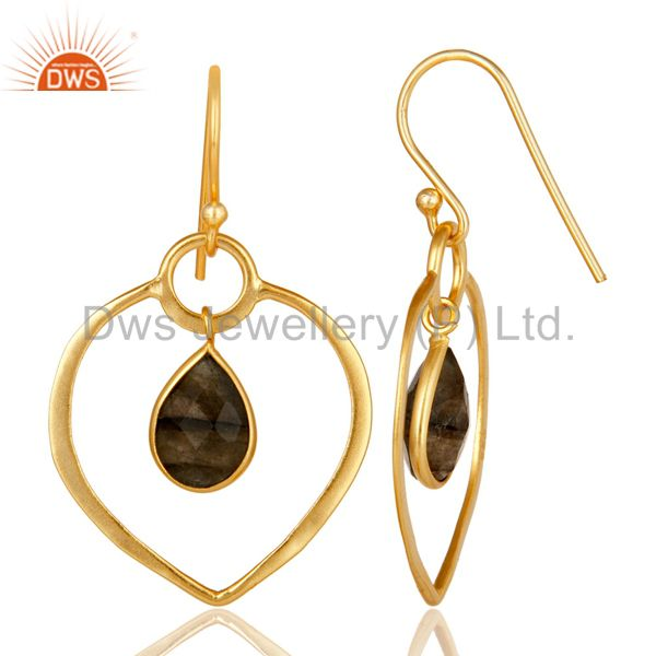 Suppliers Labradorite 14K Gold Plated Heart Shape Designed Sterling Silver Earring