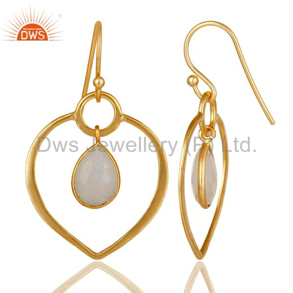 Suppliers Rainbow Moonstone 14K Gold Plated Heart Shape Designed Sterling Silver Earring