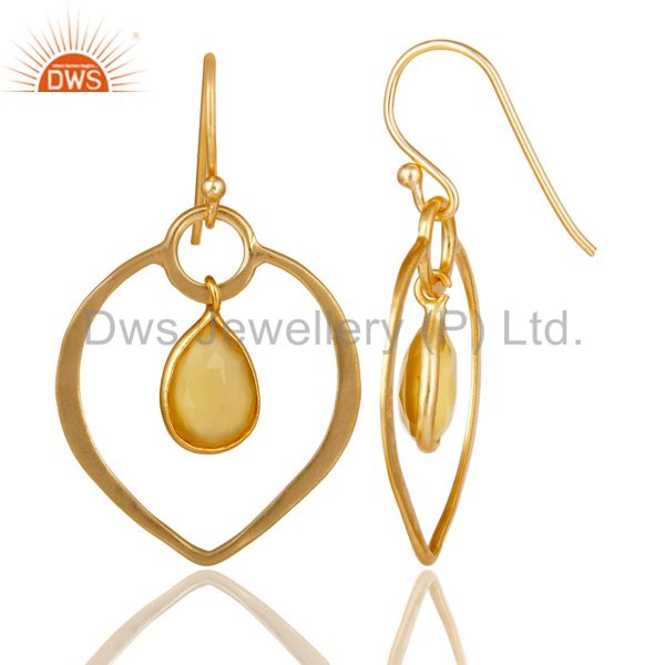Suppliers Yellow Chalcedony 18K Gold Plated Heart Shape Designed Sterling Silver Earring