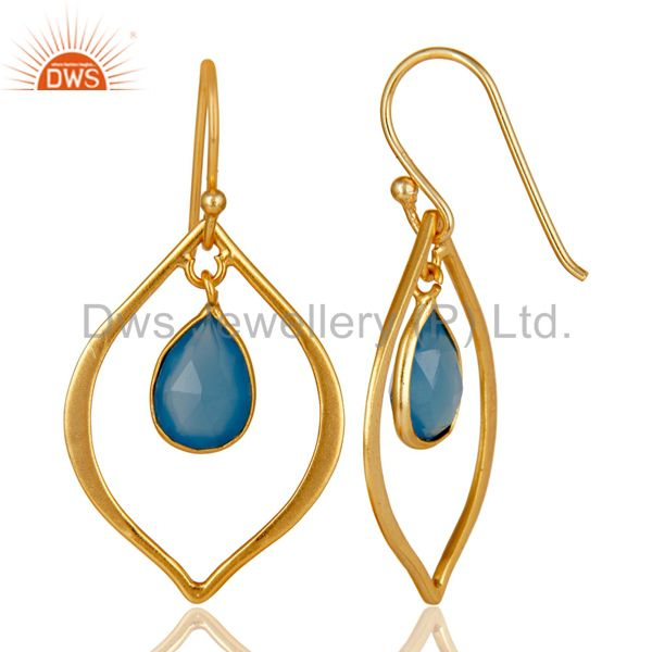 Suppliers Blue Chalcedony 18K Gold Plated Art Deco Sterling Silver Earring