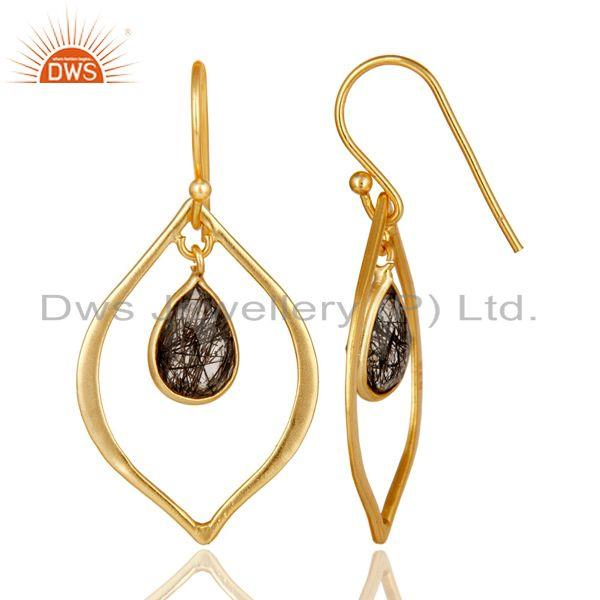 Suppliers Black Rutile 18K Gold Plated Art Deco Sterling Silver Earring