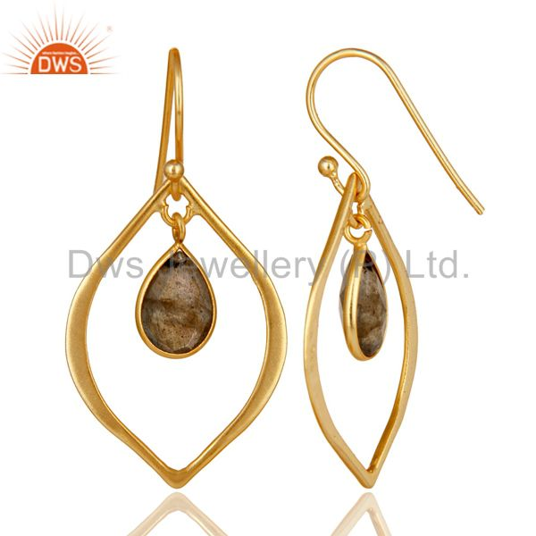 Suppliers Labradorite 18K Gold Plated Art Deco Sterling Silver Earring
