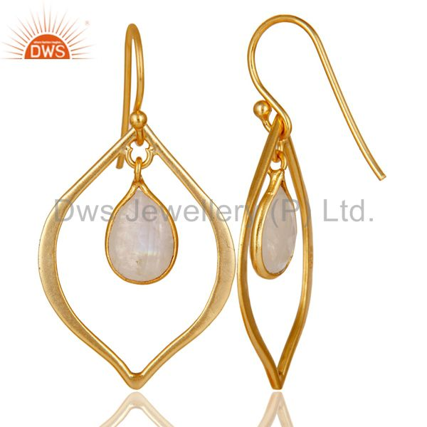 Suppliers Rainbow Moonstone 18K Gold Plated Art Deco Sterling Silver Earring