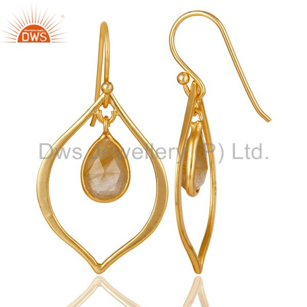 Suppliers Golden Rutile 18K Gold Plated Art Deco Sterling Silver Earring