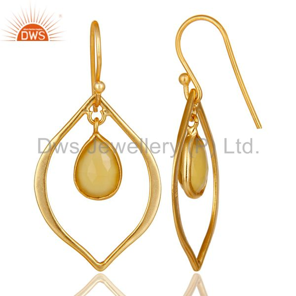 Suppliers Yellow Chalcedony 18K Gold Plated Art Deco Sterling Silver Earring