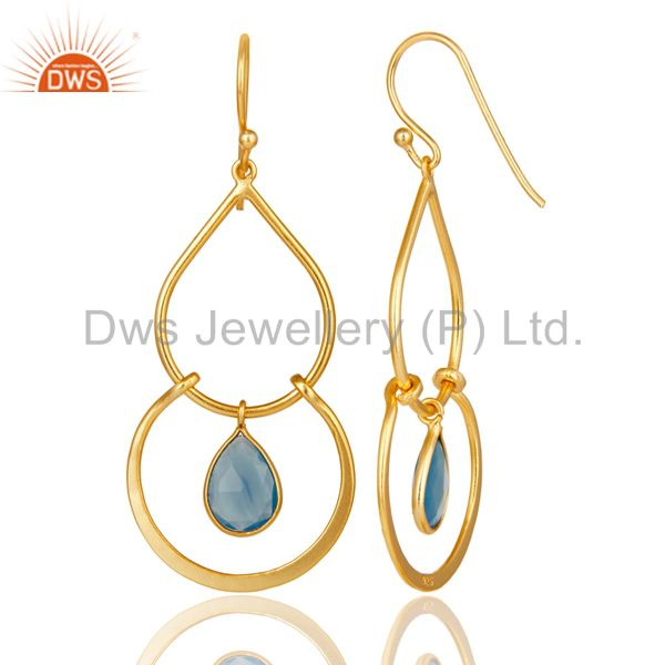 Suppliers Art Deco Blue Chalcedony 18K Gold Plated Sterling Silver Earring