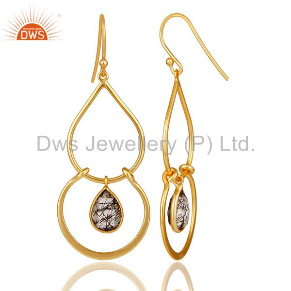 Suppliers Art Deco Black Rutile 18K Gold Plated Sterling Silver Earring