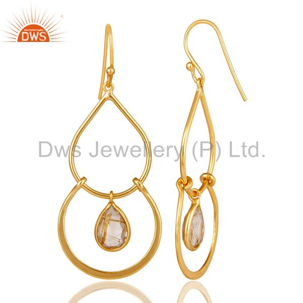 Suppliers Art Deco Golden Rutile 14K Gold Plated Sterling Silver Dangle Earrings