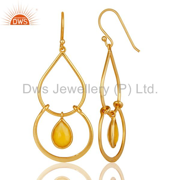Suppliers Art Deco Yellow Chalcedony 18K Gold Plated Sterling Silver Earring