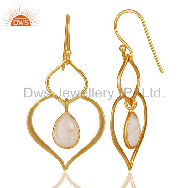 Suppliers Art Deco Rainbow Moonstone 18K Gold Plated Sterling Silver Heart Shape Earring