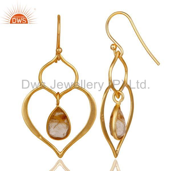 Suppliers Art Deco Yellow Rutile 18K Gold Plated Sterling Silver Heart Shape Earring