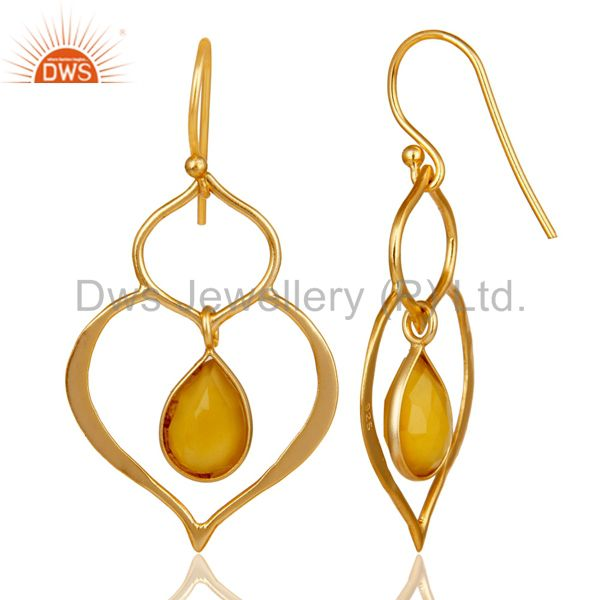 Suppliers Art Deco Yellow Chalcedony 18K Gold Plated Sterling Silver Heart Shape Earring