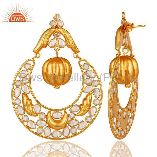 Suppliers Zircon and 18K Gold Plated Sterling Silver Chand Bali Earring