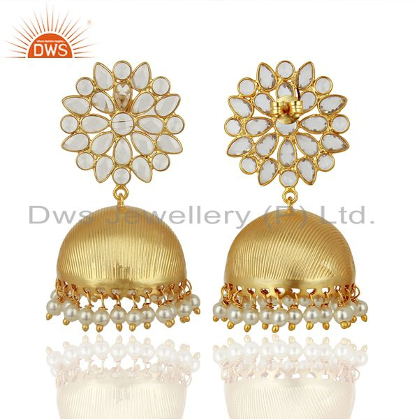 Suppliers Pearl and CZ 18K Gold Plated Sterling Silver Traditional Earring Jhumka