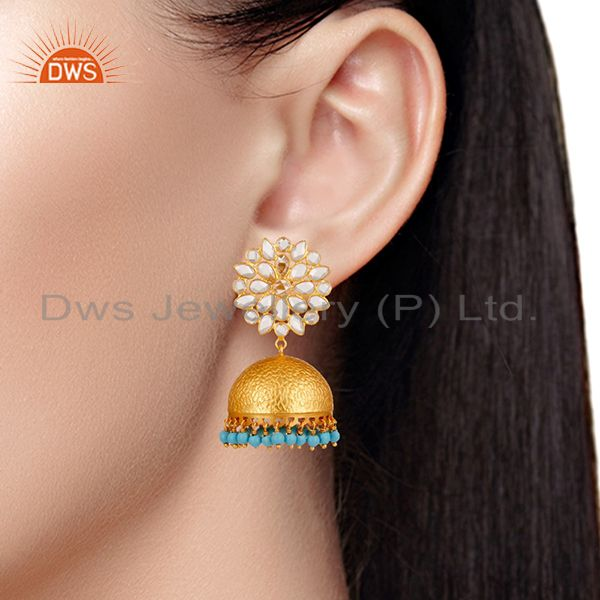 Suppliers Turquoise and CZ 18K Gold Plated Sterling Silver Traditional Earring Jhumka