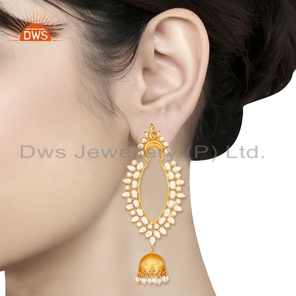 Suppliers 18K Gold Plated Sterling Silver Pearl and CZ Jhumka Traditional Earring