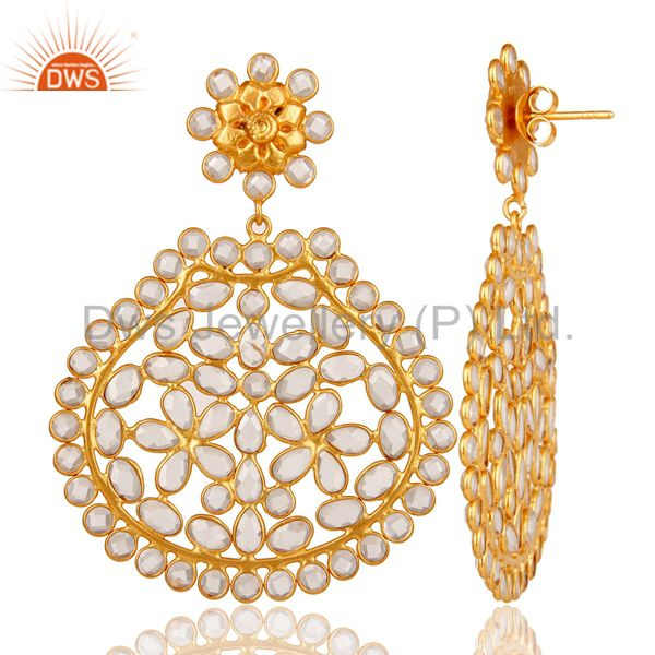 Suppliers White Zircon Bezel Set Sterling Silver Gold Plated Earring
