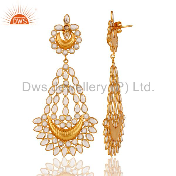 Suppliers 18K Gold PLated Sterling Silver White Zircon Jhumka Traditional Earring