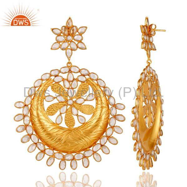 Suppliers White CZ 18K Gold Plated Sterling Silver Dangler Traditional Earring