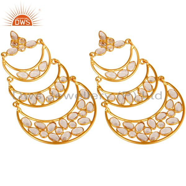 Suppliers 18K Gold Plated Sterling Silver White Zircon Dangler Earring Traditional Jewelry