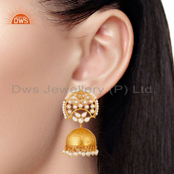 Suppliers Pearl and White Zircon Jhumka Earring 18K Gold Plated 925 Silver Earrings