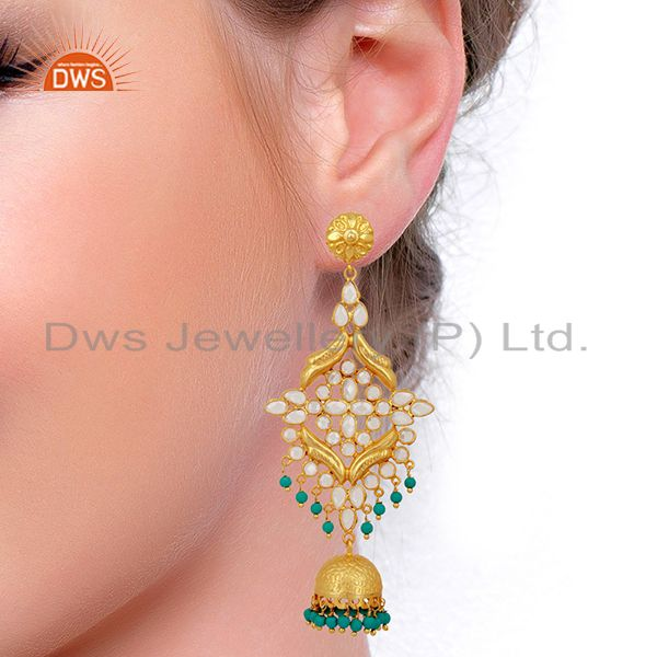 Suppliers CZ and Turquoise Traditional Jhumka Earring 18K Gold Plated 925 Silver
