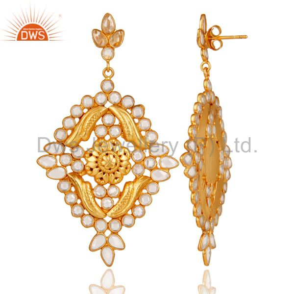 Suppliers 18k Gold Plated Traditional White Zircon Earrings Jewellery With Sterling Silver