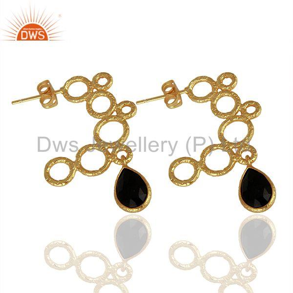 Suppliers Hammered Brass Gold Plated Black Onyx Gemstone Fashion Earring Jewelry