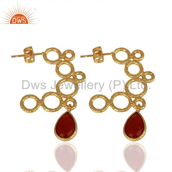Suppliers Red Onyx Gemstone Gold Plated Handmade Brass Fashion Earrings