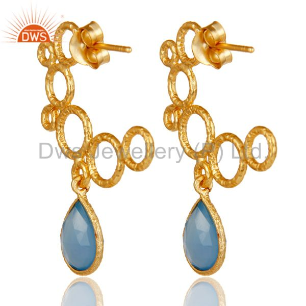 Suppliers 18k Yellow Gold Plated 925 Sterling Silver Dyed Blue Chalcedony Dangle Earrings