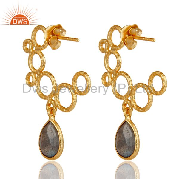 Suppliers 18k Yellow Gold Plated 925 Sterling Silver Natural Labradorite Dangle Earrings